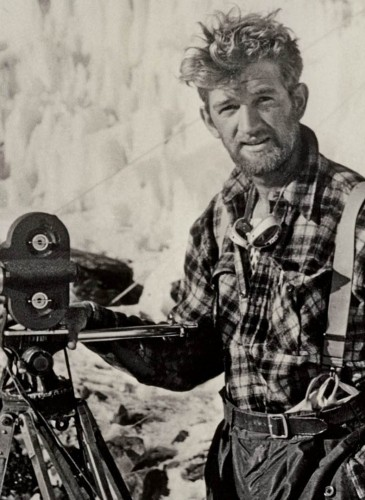George Lowe filming during first Everest expedition